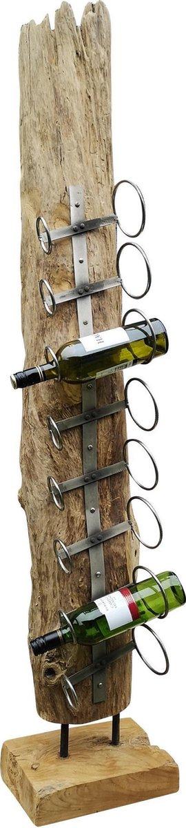 Wijnrek teak drijfhout 8 flessen