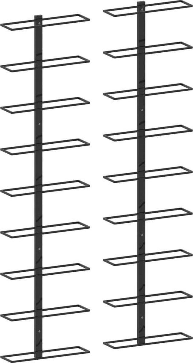 Wijnrek wandmontage voor 2x 9 flessen, staal, kleur zwart