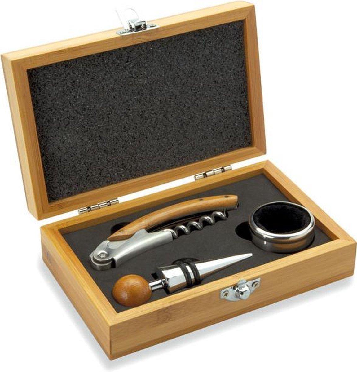 Wijnset in bamboe giftbox - Incl. kurkentrekker, wijnring, wijnstopper - RVS - Roestvrijstaal - Bamboo