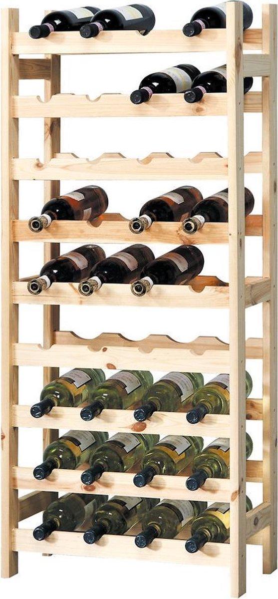 XL Wijnrek - Groot Wijnrek voor 36 Wijn flessen - FSC® Dennenhout - 9 Laags Staand Houten Wijn Rek - Flessen Houder - 51x27x120 Cm