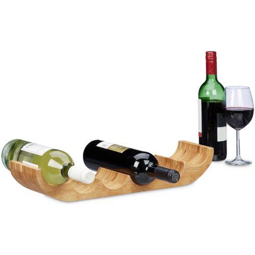 relaxdays - wijnrek bamboe voor 6 flessen - flessenrek - flessenhouder hout wijn