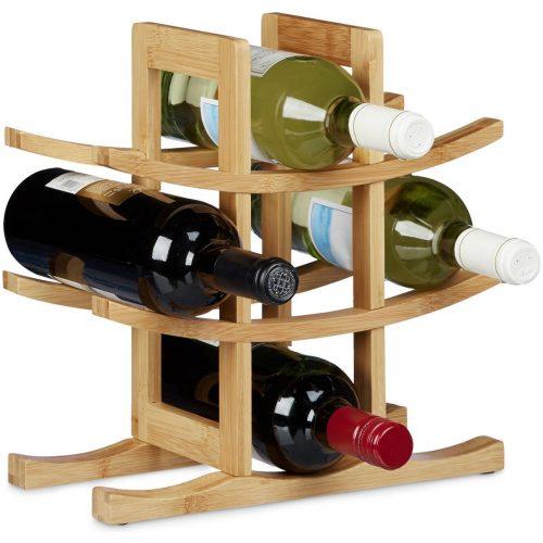 relaxdays - wijnrek bamboe voor 9 flessen - flessenrek - hout