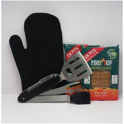 BBQ SET - lederen handschoen - aanmaakblokjes - Multitool (spatel,vork,borstel,kurkentrekker)