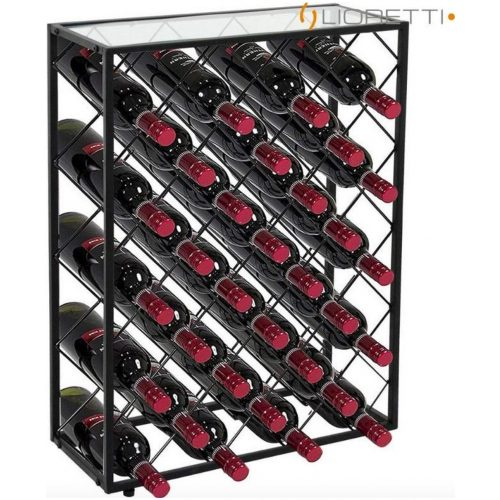Lioretti® Wijnrek | Wijnkast | Metaal | Zwart | 32 Flessen