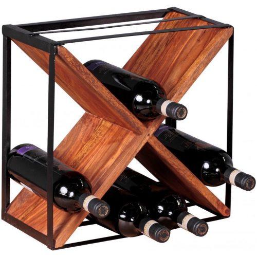 Pippa Design wijnrek in X-vorm met metalen frame - hout