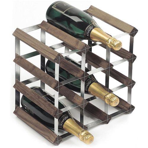 RTA Wineracks - Wijnrek 12 Flessen - Verzinkt Staal - Donker Eiken - 4x3 - Zelfbouwkit