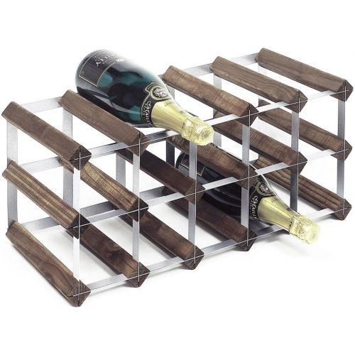 RTA Wineracks - Wijnrek 15 Flessen - Verzinkt Staal - Donker Eiken - 3x5 - Zelfbouwkit