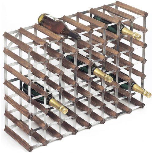 RTA Wineracks - Wijnrek 56 Flessen - Verzinkt Staal - Donker Eiken - 7x8 - Zelfbouwkit