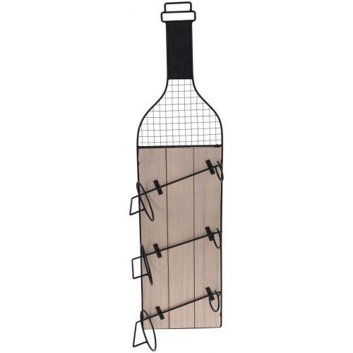Wijnflessenhouder - 3 flessen - metaal - zwart - industrieel