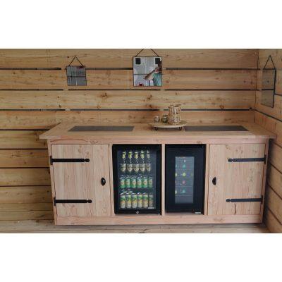 Buitenkeukendeal Porto - Buitenkeuken - Wijnkoeling 50 Liter - Koelkast 68 Liter - Douglas - Hout - Geschaafd - Keramische tegel -